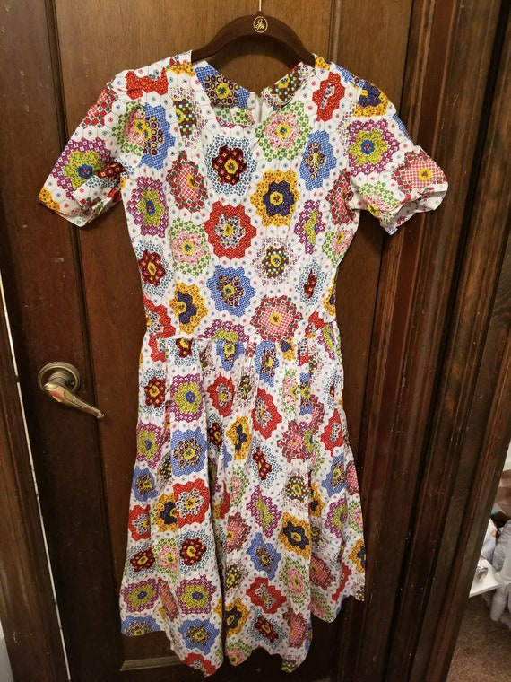 Vintage A-line multicolor dress