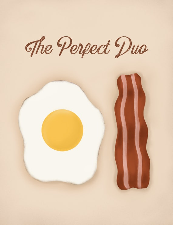 Novelty Valentines Day Gifts for Her Him Personalised Bacon and Eggs Print Gift