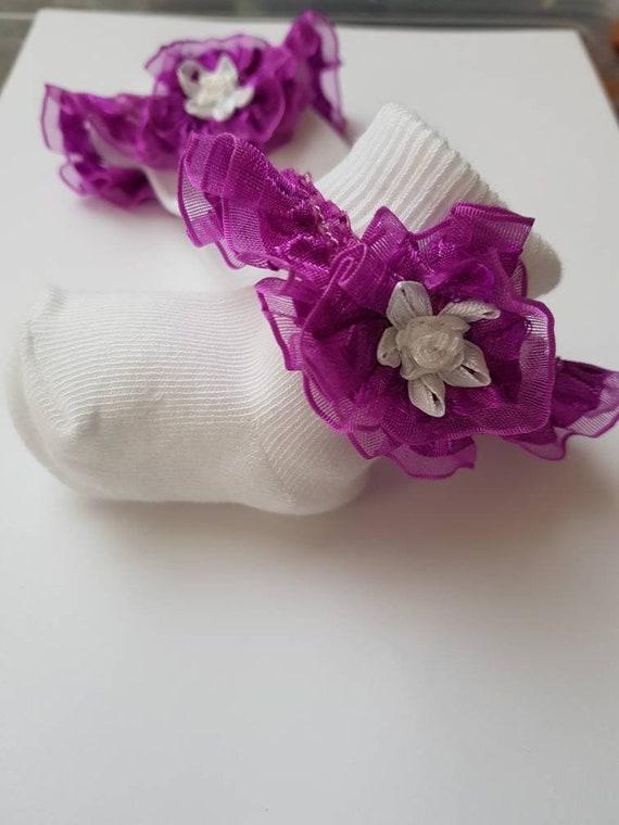 Viola Con Perline Fiore Bambino//ragazze Frilly calze Varie Taglie
