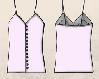 PDF Sewing Pattern A camisole style top with false fastening at the front   Woman Top   Woman T-shirt   Woman Shirt Sewing Pattern Digaital