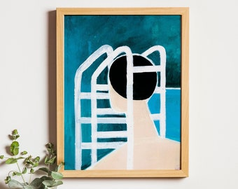 Art Print: Shame IX | Swimming Pool Paint Illustration Joanna Ambroz | Mothers Day Print | Mothers Day Poster | Mom Print | Gift for Mom
