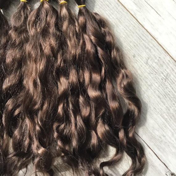 Color Natural Hair For Dolls Curly Golden Coffe Mohair Goat