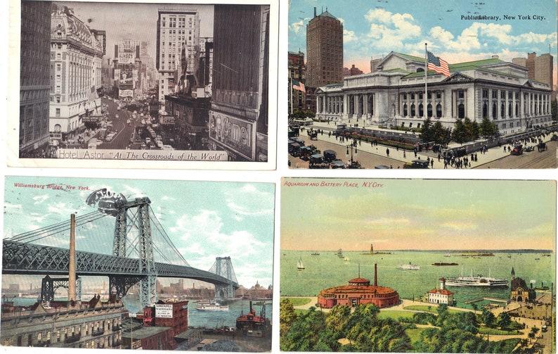 Lot of 4 Vintage Postcards of New York City Lot 679