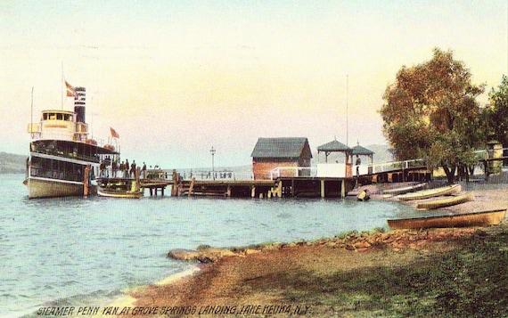 Steamer Penn Yan at Grove Springs Landing Lake Keuka,New York