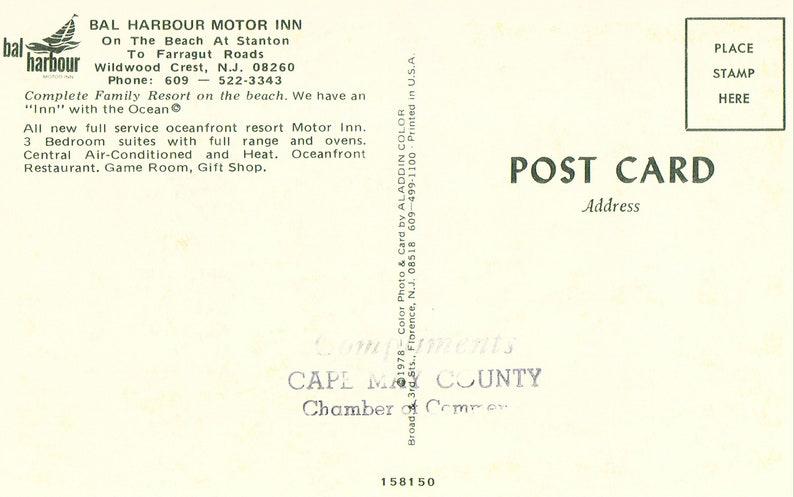Bal Harbour Motor Inn Vintage Postcard Wildwood Crest,New Jersey