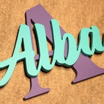 Name and CAPITAL LETTER sign | Custom name for kids | Door decoration | Great for walls and rooms | Choose between 17 colors