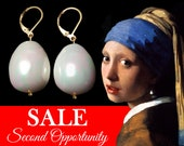 SECOND OPPORTUNITY, Super Sale Johannes Vermeer Girl with a pearl, White Glass HUGE Pearls Earrings, Very big pearls with some small flaws