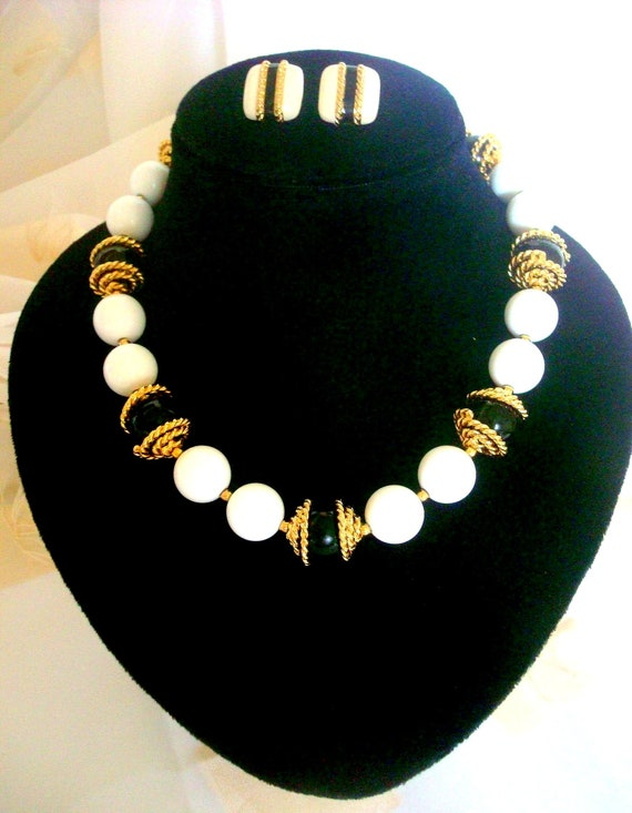 MONET necklace and Earrings, Vintage Monet White a