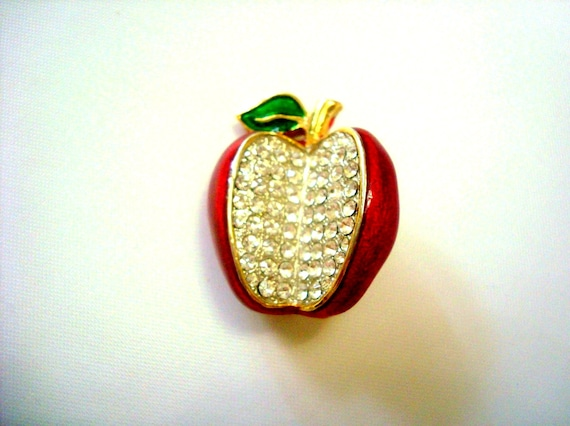 Vintage apple brooch, Red enamel apple Brooch, Rhi