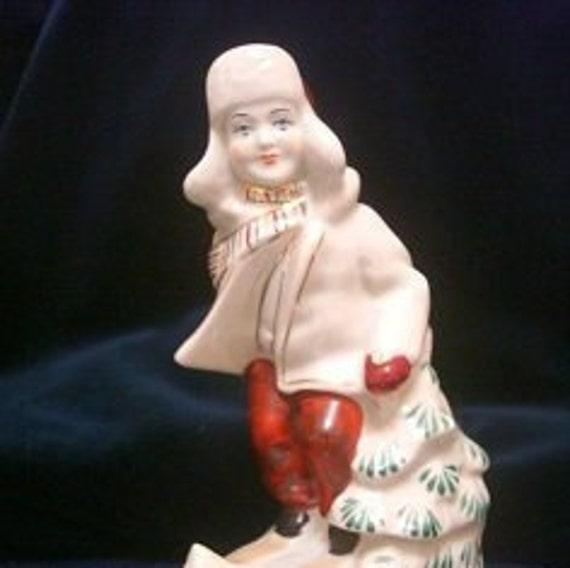 Porcelain Figurine Vintage Soviet Porcelain Soviet Art ZHK Ukrainian Porcelain POLONNE small skier Polonne Porcelain Figurine USSR
