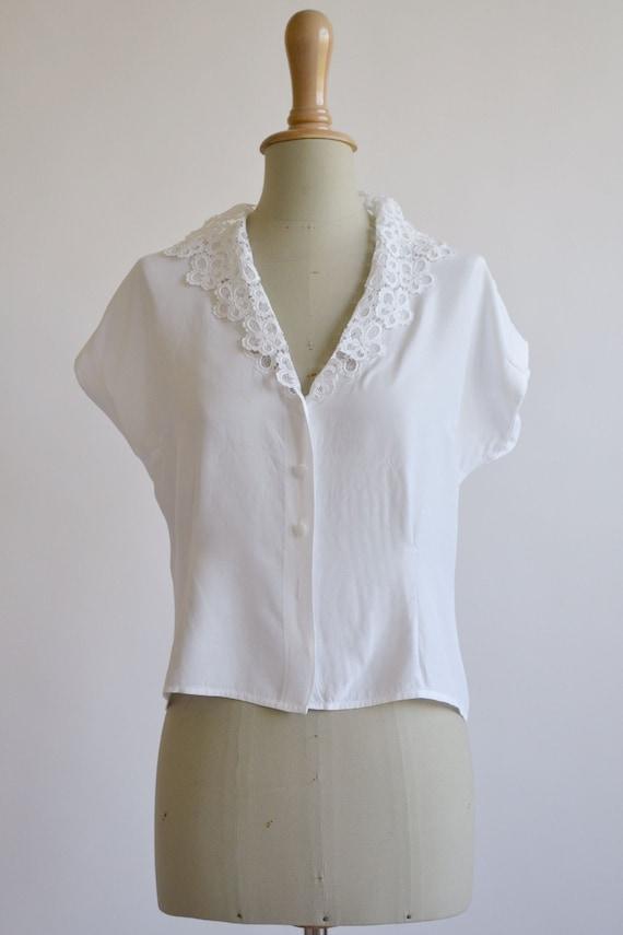 1950s white viscose blouse