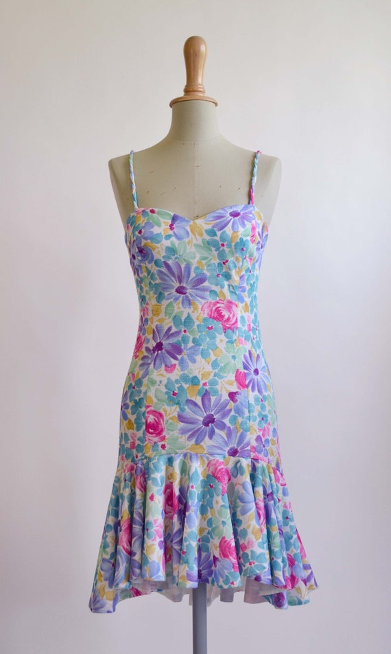 1980's Floral Cotton Summer Dress
