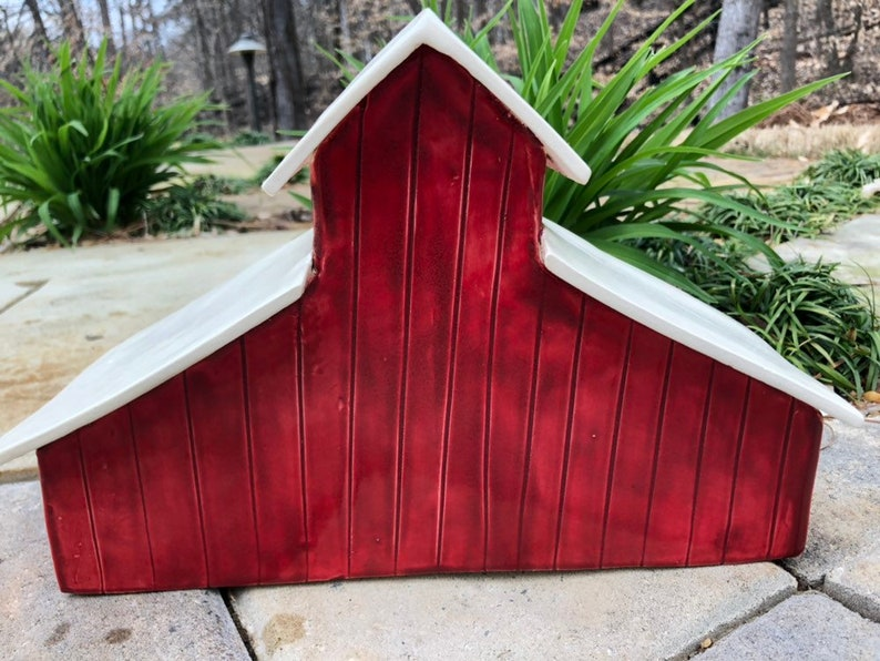 Rustic Red Barn Ceramic Luminary decor