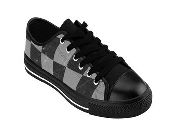 b01b55001552 Women s Black and Gray Classic Checkerboard Pattern Sneakers