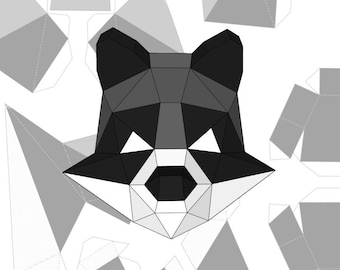 Template Paper Raccoon Mask Lowpoly 3D