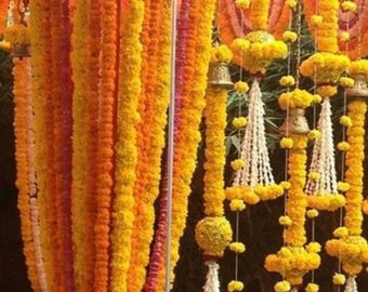 Pack of 10 Artificial Marigold Garlands flower strings wedding mehndi party door hanging 5 feet