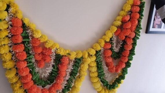 Marigold Handmade Decor Toran Artificial Flower Garland Door Hanging traditional