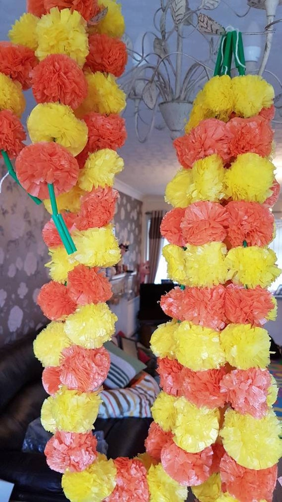 5 Feet Artificial Marigold Garlands with bell Wedding Decoration mehndi 1 pc