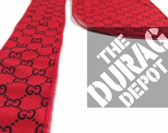 ad6b4d695b31 Red Gucci inspired Durag designer head scarf