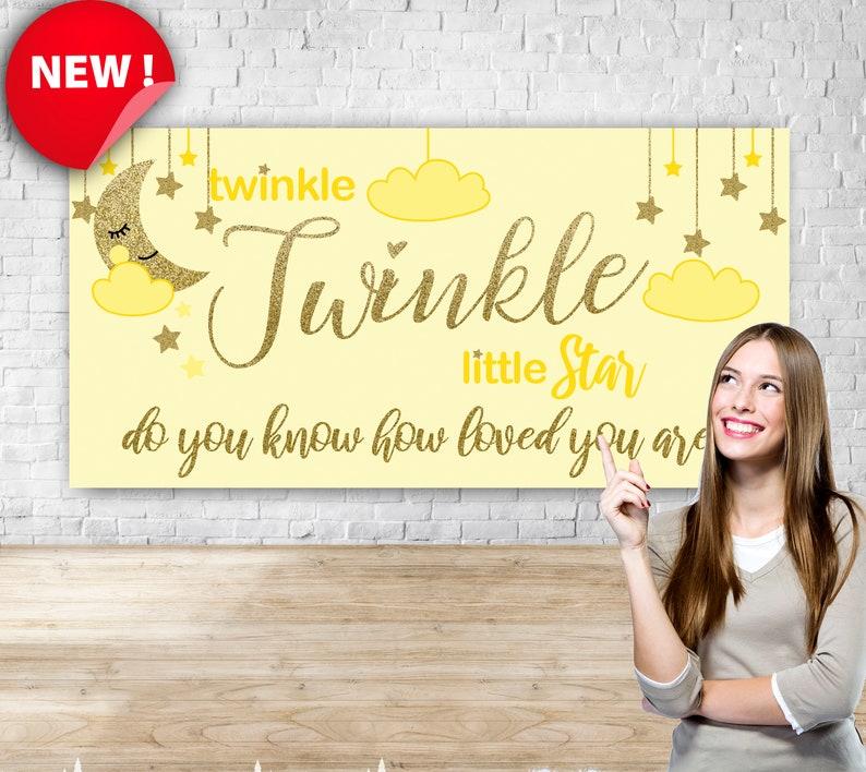 Gender Reveal banner backdrop twinkle yellow Custom Baby Shower