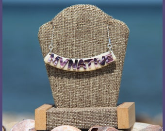 Marvelous Martha's Vineyard Native American Hand-Made Certified WAMPUM and Solid Sterling Silver MVNATIVE Bib Bar Clam Strip Style Necklace