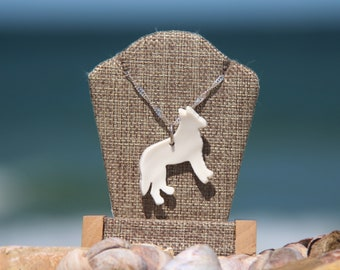 Authentic Wampanoag Martha's Vineyard Native American WAMPUM and Sterling SILVER White Shepherd Dog Pendant Gift Boxed with Free Shipping