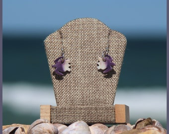 Authentic Wampanoag Martha's Vineyard Native American WAMPUM and Sterling SILVER Sea Turtle EARRINGS Gift Boxed with Free Domestic Shipping