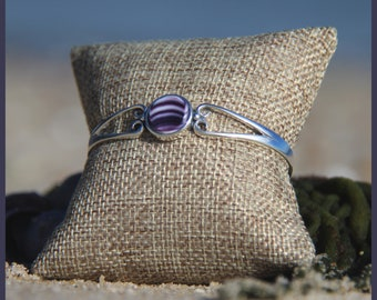 Lovely Martha's Vineyard Aquinnah Wampanoag Native American Hand-Made WAMPUM and Sterling SILVER Cabochon Fancy Heart Cuff Style Bracelet