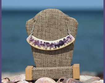 Martha's Vineyard Native Hand-Made Certified Authentic WAMPUM and Solid Sterling Silver WAMPANOAG Bib Bar Clam Strip Style Necklace Set