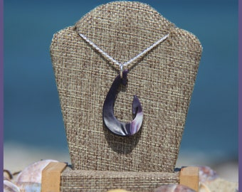 Authentic Martha's Vineyard Native American Hand-Made Certified WAMPUM and Solid Sterling Silver Traditional Fishing Hook Pendant