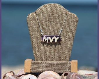 Jet Set Martha's Vineyard Native American Hand-Made Certified WAMPUM and Sterling Silver MVY Airport Code Bib Bar Clam Strip Style Necklace