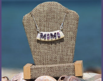 """Authentic Martha's Vineyard Native American Hand-Made Certified WAMPUM and Solid Sterling Silver """"MIMI"""" Bib Bar Clam Strip Style Necklace"""
