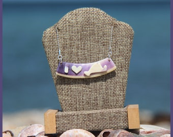 """Authentic Martha's Vineyard Native American Hand-Made Certified WAMPUM and Solid Sterling Silver """"I HEART Martha's Vineyard"""" Pendant"""
