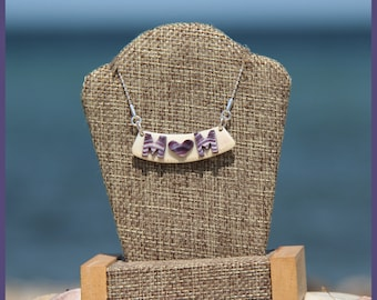 """Authentic Martha's Vineyard Native American Hand-Made Certified WAMPUM and Solid Sterling Silver """"MOM"""" Bib Bar Clam Strip Style Necklace"""