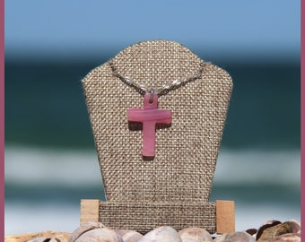 Lovely Martha's Vineyard Aquinnah Wampanoag Native American-Made STAINED Glass and Sterling SILVER Christian CROSS Pendant in Spring Feel