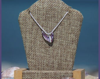 Nautical Martha's Vineyard Native American Hand-Made Certified Authentic WAMPUM and Solid Sterling Silver Nantucket Island Pendant