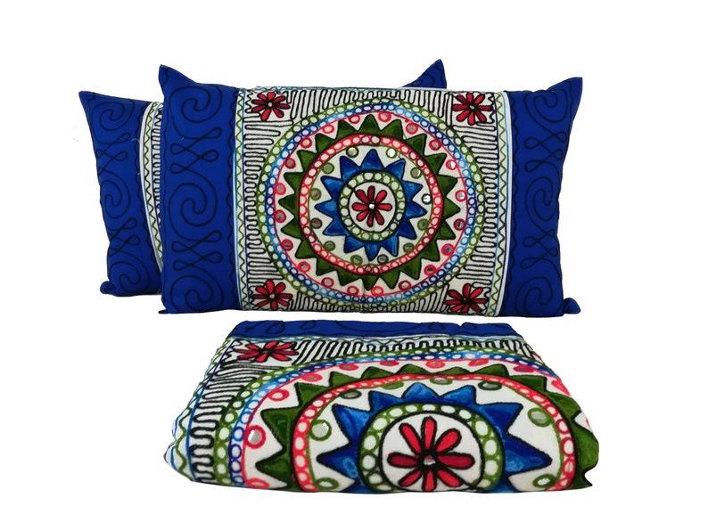 Bohemian Suzani Wall Hanging Uzbeki Bedspread Boho Suzani Tapestry Wall Hanging Hand Embroidered Suzani Throw Queen Bedding