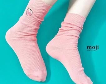 3ed324464b2 Pink Cute Peach High Quality Women Cotton Slouch Socks High Socks