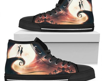 10b2b05d8b4f Jack Skellington Sally High Top Shoes - Jack Skellington High Top Canvas  Shoes - The Nightmare Before Christmas Shoes