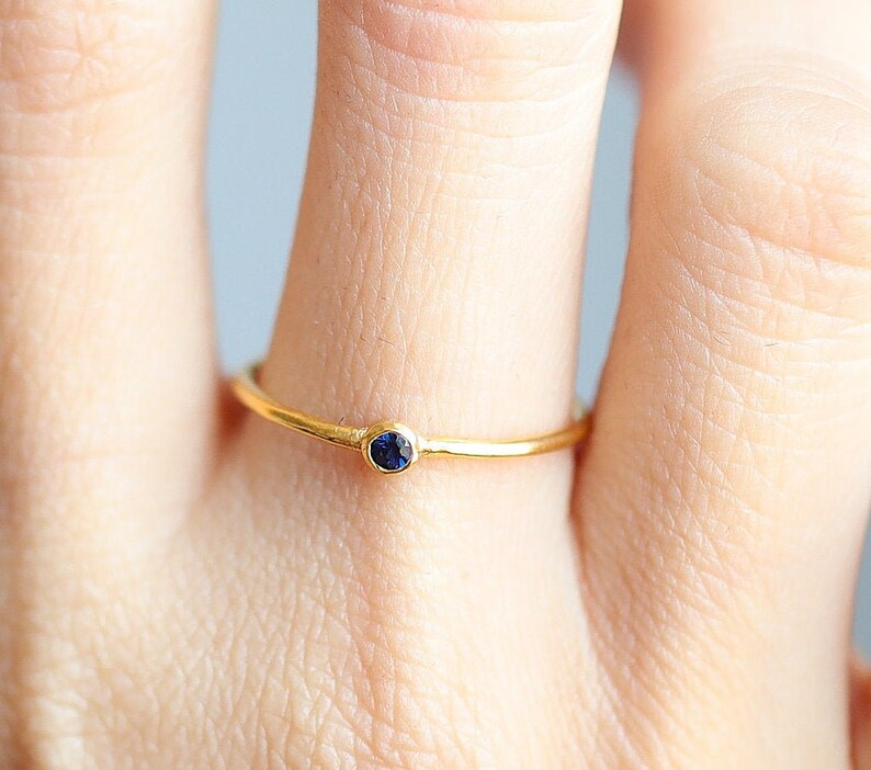 Sapphire rings Stackable rings Rose gold rings Stacking rings 14k gold ring Gift Gold stacking rings Minimalist blue sapphire rings