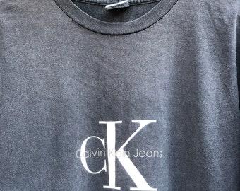 5d372e5d375 Vintage Calvin Klein Jeans CK Original Big Logo T-shirt Size S