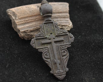 Authentic Ancient Medieval Orthodox Cross Pendant with medieval inscriptions - 50 x 26 mm. 16th-17th century