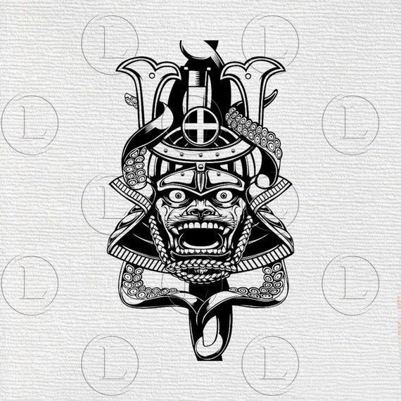 Samurai Mask Svg Samurai Mask Japanese Samurai Mask For Cricut Etsy
