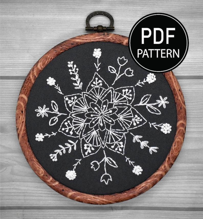 Mandala Embroidery Pattern  Embroidery Kit  Flower Mandala Pattern White Flower Hand Embroidery Pattern Embroidery PDF Flower Pattern