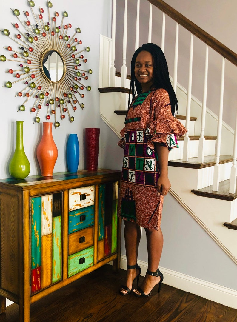 handmade Ankara A-line Dress african clothing