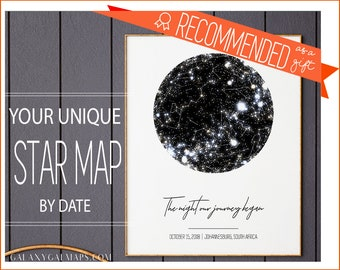 Star Map By Date And Location.Star Map By Date Etsy