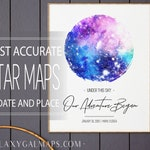 Star Map By Date, PERSONALISED Star Map Poster, Wedding Night Sky Star Map Card, Custom Constellations Map Chart Print Decal Coordinates