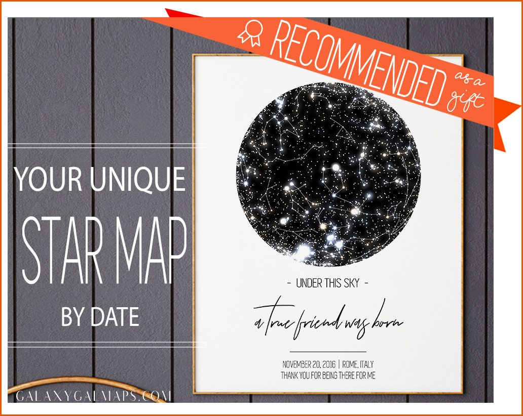 Friendship Gift   Personalized Star Map By Date Printable  Gift For Close  Friend   Best Friend Gift, Going Away Gift   Moving Away Gift