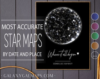 Star Map Print Custom By Date, PRINTABLE Star Chart Poster, Astronomy Gifts Galaxy Art Print, Constellation Map Where We Met Night Sky Print