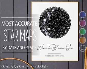 Star Map Print, Star Map By Date Poster, Night Sky Poster Print Zodiac, Night Stars Constellation, Northern Hemisphere Monchrome Print